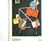 10 Letters & Envelopes Postage Stamps // Letters Mingle Souls // Vintage Letter Writing Painting / 10 Cent Postal Postage Stamps for Mailing