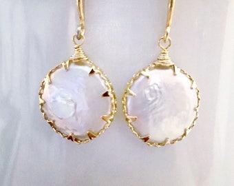 Freshwater Coin Pearl Drop Earrings