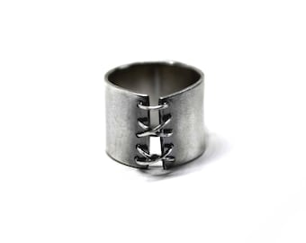 TIED UP Ring, Corset Ring, Bondage Ring,925 Sterling Silver BDSM Jewelry, Gothic Style, Handmade Ring, Statement Ring, Mistress Ring
