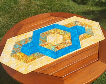 Tropical Quilted Table Runner: aqua blue and yellow summer table runner with interlocking hexagons, Hawaiian décor, pineapple table runner