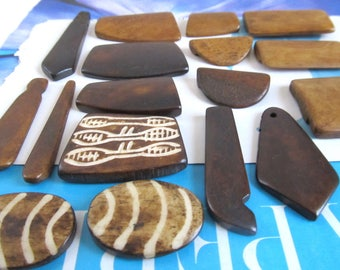 Batik Bone Cabs, Mix Brown Bone Separators, Square Separator Pendant, 2 Hole Spike, Carved Bone Rectangle, Shield Pendant, 17 Pcs 09053