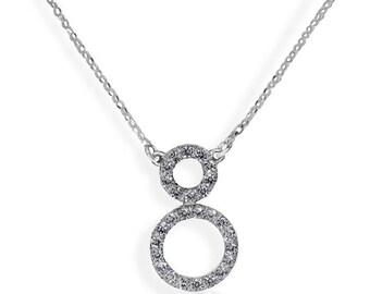 The 8 shape pendant, 14K White Gold, Diamonds 0.90 CTW, Infinity pendant, Eternity necklace, Diamonds necklace, open circle pendant