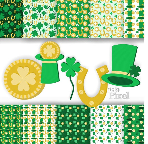 St Patrick clip art set and patterned papers with Shamrock, Lucky Coin and Green Hat for cards and scrapbooking - download