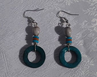 Earrings ethnic coconut and seeds