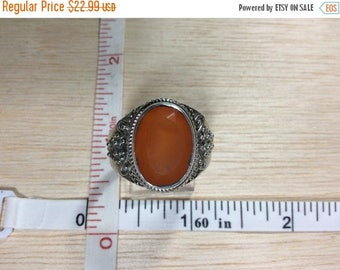 10% OFF 3 day sale Vintage 925 Sterling Silver Ring Size 12 Orange Stone Used