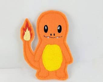 Orange Salamander Monster Finger Puppet - Kid's car toy - Quiet Toy - Christmas gift - Stocking Stuffer - Embroidered Felt Finger Puppets