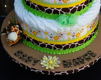 Safari Diaper Cake - Jungle Diaper Cake - Safari Baby Shower - Jungle Baby Shower - Wild Animal Safari Diaper Cake - Baby Cake