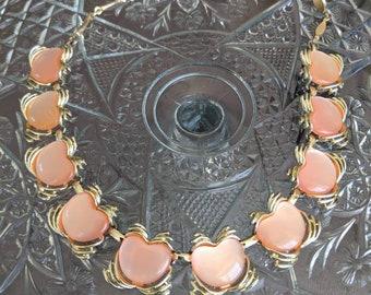 Peach Lucite 1960s Link Bracelet