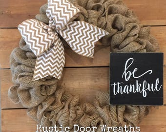 Burlap Wreath / Fall Burlap Wreath / Front Door Wreath / Thankful Wreath / White Chevron Wreath / Thanksgiving Wreath