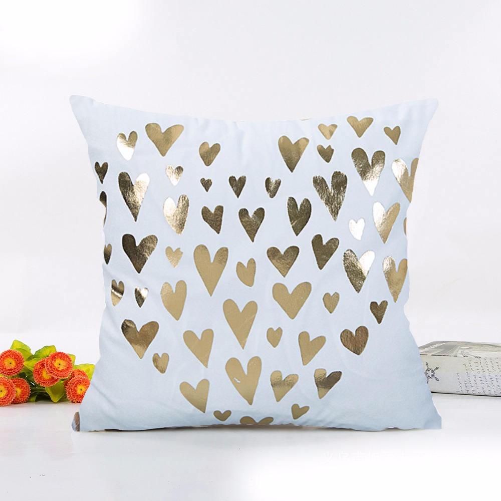 Gold Heart Pillow Cover 16 Inch 16 cm Pillow Cover Pillow