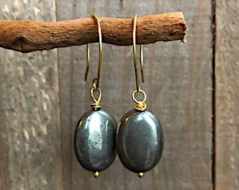 PYRITE  Drop Earrings / PROSPERITY Earrings