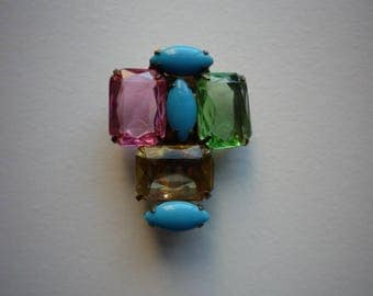 Vintage Multi Colored Crystal Turquoise Cabochon Pin Brooch