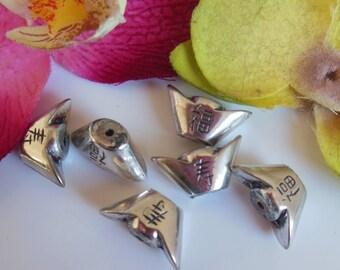 set of 6 silver metal beads
