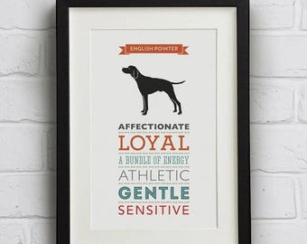 SALE 20% OFF English Pointer Dog Breed Traits Print - English Pointer Gift
