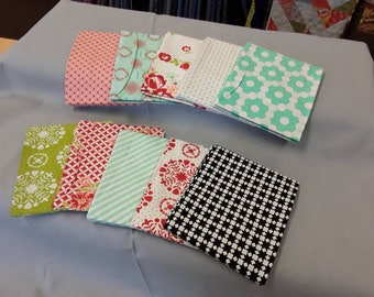 10 fat quarters from Bonnie and camille's handmade collection with aqua stripe