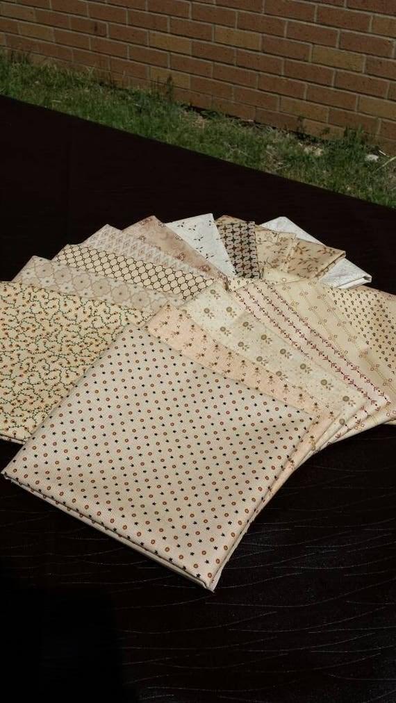 18 Neutral Fat quarters cut from my Kim Diehl Fabrics