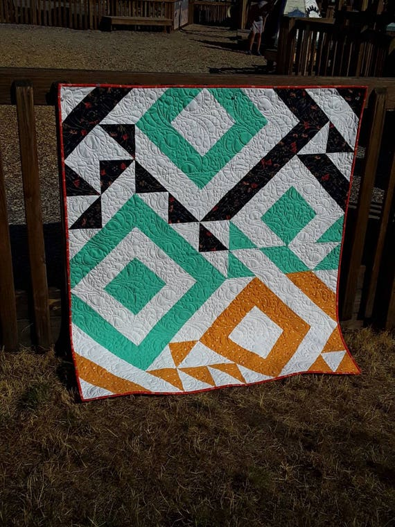 Easy Modern Triangle Twin Size Quilt Kit With A Striking Chic Design, Great Quilting Project For Newbie Quilter, Half Square Triangle Love