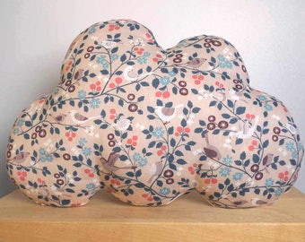 Cushion cloud cotton bird with pink linen, 35 x 23 cm back