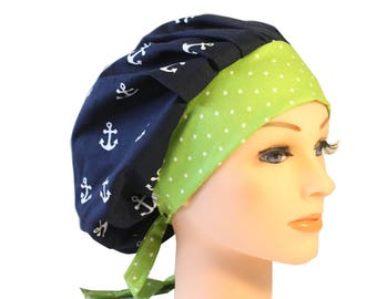 Scrub Cap Surgical Hat Chef   Dentist Hat Tie Back Bouffant Navy Anchors Green2nd Item Ships FREE