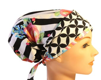 Scrub Hat Cap Chemo Bad Hair Day Hat  European BOHO Banded Pixie Tie Back Stripe Pink Blue Roses Black Geometric Band 2nd Item Ships FREE