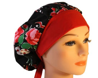 Medical Scrub Cap Surgical Chef Dentist Hat Bouffant Roses are Red Pink Roses Dots Black 2nd Item Ships FREE