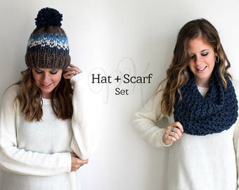 Hat Scarf Set Knit Pair Pom Chunky Bundle