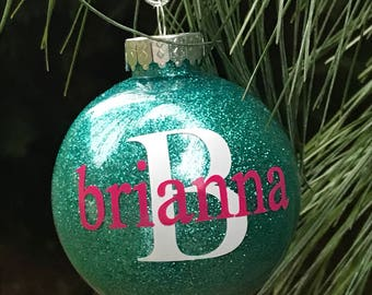 Kids Non Breakable Christmas Tree Ornament, Personalized Ornament, Kids Ornaments, Glittered Ornaments, Shatterproof Dated 2017