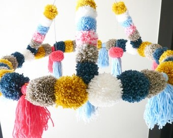 Large chandelier tassels and multicolored fringes, 60cm diameter