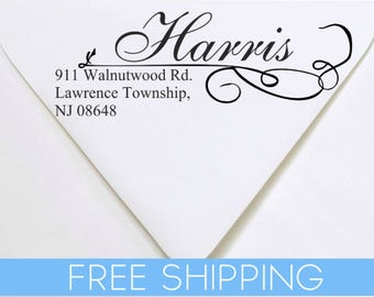 Custom Return Address Stamp - Self Inking. Personalized rubber stamp with lines of text Cursive Script