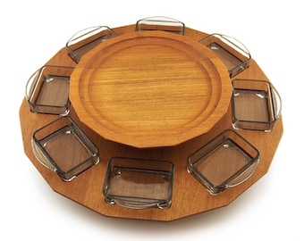 Rotating Lazy-Susan, Mid Century Modern , Glass dishes, Fondue Party server, Lazy Susan, teak wood, danish modern Houseware