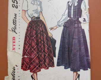 Simplicity 2944 Full Skirt Blouse with Bow Vest Bolero Vintage Sewing Pattern 1940s 40s Size 12