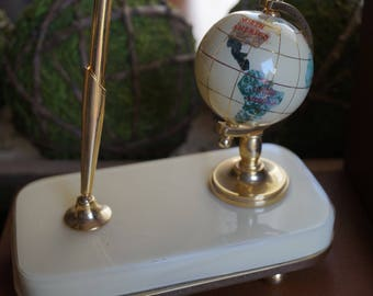 Vintage, Small World Globe with Pen Holder