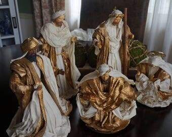 Vintage, Large Five Piece Paper Mache Nativity Set