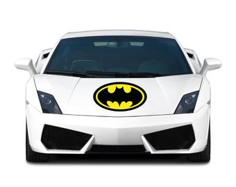 Black & Yellow Batman Inspired Logo Auto Car Hood Truck RV Boat Outdoor All Weather 4 Seasons Vinyl Sticker Decal Mural