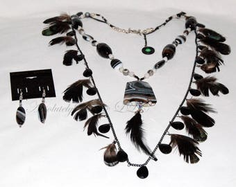 Penguin Waltz - A Feathered Tuxedo Agate Necklace
