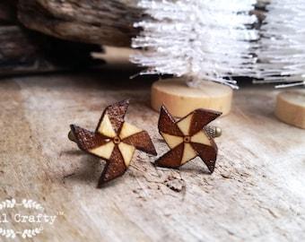 Paper windmill Wooden Cufflinks handheld origami windmill Boy friend Dad Grooms Best man Groomsman Rustic Wedding Birthday Gift Cuff links