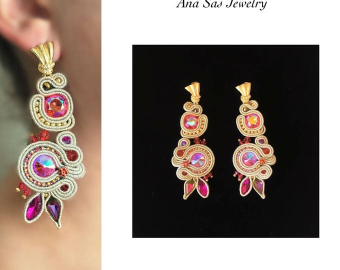 Statement Swarovski crystals Soutache earrings, pink and gold