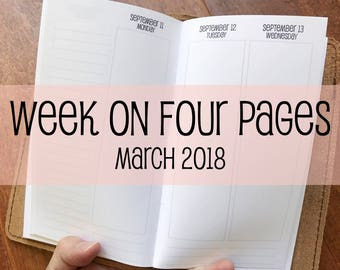 Traveler's Notebook PERSONAL Size Week on Four Pages {March 2018} #700-53