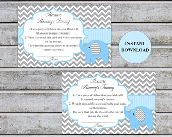 Baby Shower Games Measure Mommy's Tummy How Big Is Mommy's Belly Game Cards Instant Download (49DMMT)
