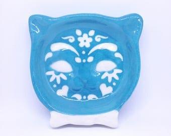 Blue Turquoise Sugar Skull Kitty Cat Ring Tray handmade hand made OHIO USA tattoo ceramic pottery