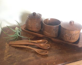 Teak Wood Condiment Tray with 3 Wood Carved Jars