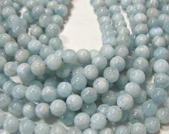 "Natural AA Blue Aquamarine 7.5-8mm Round Beads 16"" Temporary Strand,Spacer,Accent,Untreated,DIY Jewelry Designs,Genuine Gem Stone"