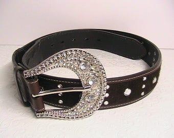 Western Belt, Women's Western Leather Belt, Western Bling Leather Belt, Like New!!