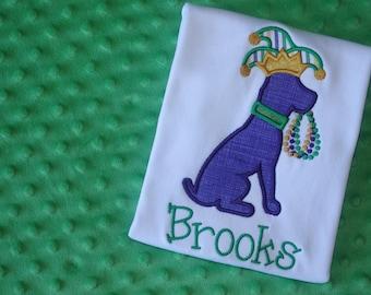 Mardi Gras Dog Appliqued Shirt