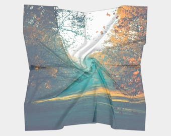 Teal Scarf, Wearable Art, Digital Print scarf, Nature Scarf, Photo Scarf, Wedding shawl, Autumn Scarf, Wall hanging, Gift for Women