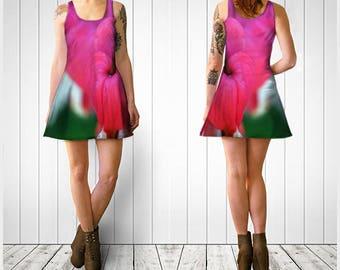 Flare Dress, Skater Dress, Pink Flower Dress, Pink Flare Dress, Reversible Dress, Spandex Mini Dress, Floral Flare Dress, Teen Clothing