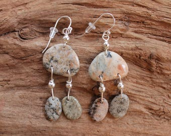 Earrings made with Lake Superior rocks and sterling silver, beach stone, jewelry, rock earrings, Christmas, stocking stuffer, birthday