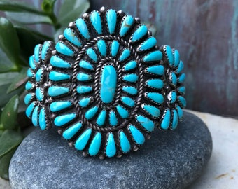 Exquisite vintage Turquoise and Sterling petit point cluster cuff