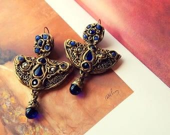 Royal Blue Earrings Long Earrings Blue Earrings Boho Earrings Drop Earrings Dangle Earrings Big Earrings Statement Earrings Evening Earrings
