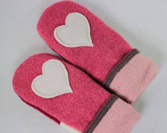 Valentines Gift SMALL Raspberry Heart Mittens, Girl's Mittens